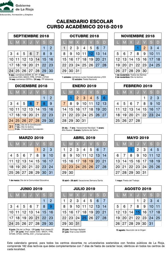 Calendario Escolar 1819.Calendario Escolar 2018 2019 Concapa Rioja
