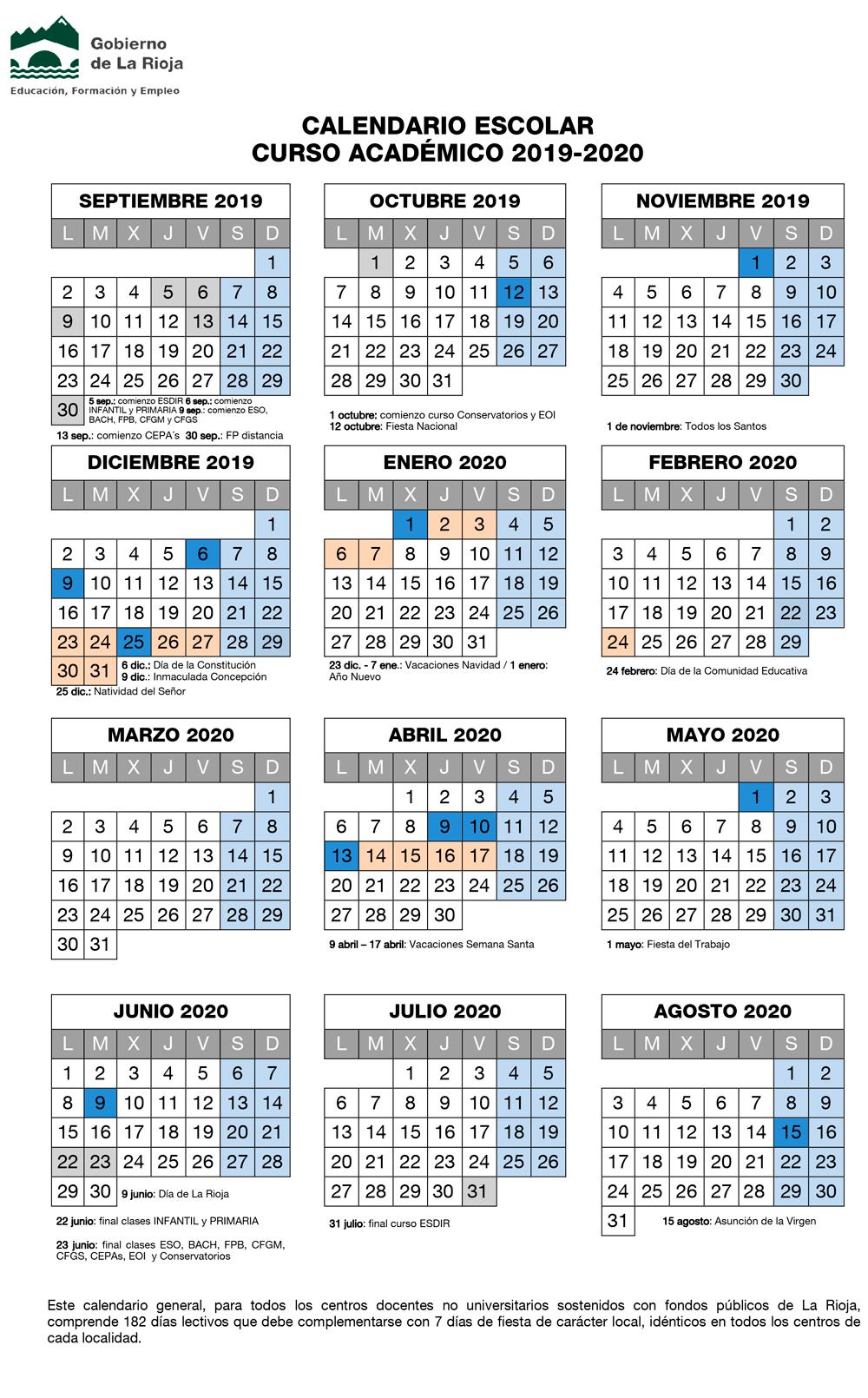 Calendario Agosto 2020 Espana.Calendario Escolar 2019 2020 Concapa Rioja